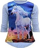 Unbekannt Einhorn Unicorn Mädchen Kinder Sweatshirt Pullover 3D Druck Bluse Langshirt Pulli (140-146, Grau)