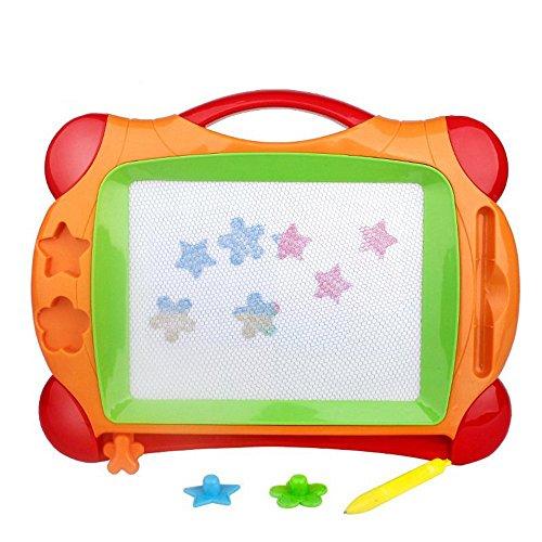 Magnetische Zeichnung Kleinkind (Magnetische Zeichnung Malerei schreiben Graffiti Board, tragbare Magnet Doodle Board mit 1 Magnetstift und 2 Stampers, 4 Farbe für Kinder Vorschule Kleinkinder Kinder Mädchen Jungen Home Travel, Größe)