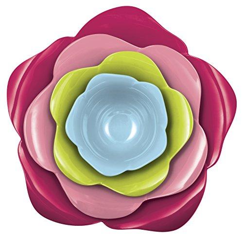 Zak Designs 2174-D840 Rose Set de 4 Saladiers Emboitables Sorbet
