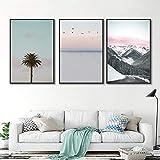 LYYHH Immagine della Parete della Pittura della Stampa del Manifesto della Tela di Canapa di Arte della Parete del Paesaggio di Montagna Tropicale della Palma del Mare per Il Salone