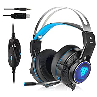 A-SZCXTOP SL-320 3.5mm Gaming Headset Professional Stereo Headphone Surround Sound USB Earphone Headband with Microphone LED Light for PS4, XBOX ONE, Nintendo Switch, Laptop, PC, Mobile Phones