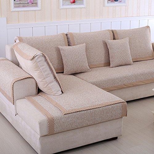 Sofa möbel protector für haustiere kinder Schnittsofa werfen abdeckung pad Baumwolle und leinen Anti-rutsch Slipcovers l, U-form Verdicken sie Couch abdeckung-1 stück-C 43x63inch(110x160cm)