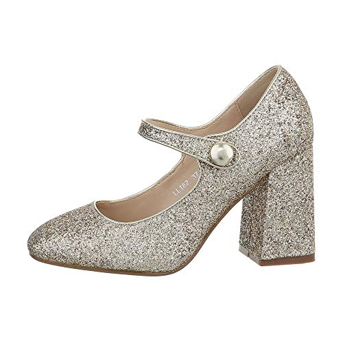 Ital-Design Damenschuhe Pumps High Heel Pumps Synthetik Gold Gr. 39