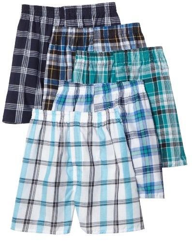 Plaid Woven Shorts (Fruit of the Loom Men's Tartan Woven Boxer - Colors May Vary, Assorted Plaid, X-Large(Pack of 5))