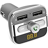 Auslese™ BT20 Wireless Car Bluetooth FM Transmitter Car Kit Hands-free Call 5V 3.4A Dual USB Charger For IPhone Android Smartphone, Support USB Flash Driver And Micro SD Card