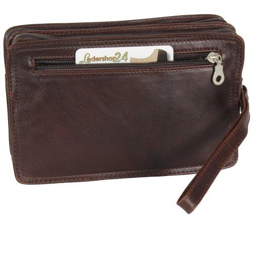 Branco Business Herren Handgelenktasche Herrentasche Tasche Leder schwarz | braun | natur - sehr hochwertig - versch. Farben Braun