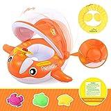 Peradix Baby Schwimmring mit Sonnendach Aufblasbares Kinderboot für Kinder ab 6 Monaten (Orange)