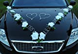 MARTA Auto Schmuck Braut Paar Rose Deko Dekoration Autoschmuck Hochzeit Car Auto Wedding Deko PKW (Reinweiß / Weiß)