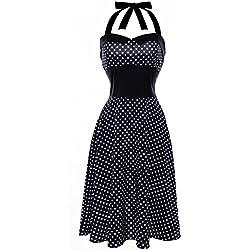 Lenfesh Mujer Vintage Vestido Pin Up de Lunares Punto Sin Mangas Halter Rockabilly Dress para Fiesta (XL, Negro)