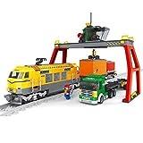 Fracht Zug Set Lkw Behälter Kran Stadt Eisenbahn Creator 12st Schienen #25004