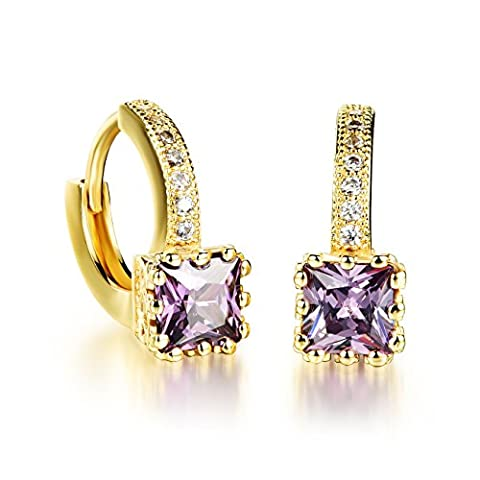 OPK Jewellry Gold Tone Diamond Accent Zirconia Guaranteed Hoop Earrings 18k Gold Plated Finish, White/ Purple