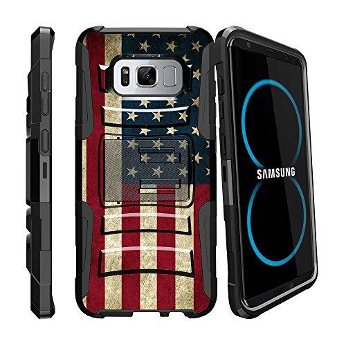 Schock hitzebeständig Fall durch miniturtle Kompatibel mit Samsung Galaxy S8Active [Clip Armor] Hybrid Bumper Hard Shell Fall w/Verriegelungs Ständer und Gürtelclip, American Flag USA American Flag-handy-fall