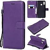 YQXR téléphone Portable Accessoires Etui Portefeuille Alternatif en Cuir de Couleur rétro Solide avec Fentes pour Cartes, Pied de béquille et Fermeture magnétique pour Huawei Nova 3 (Color : Purple)