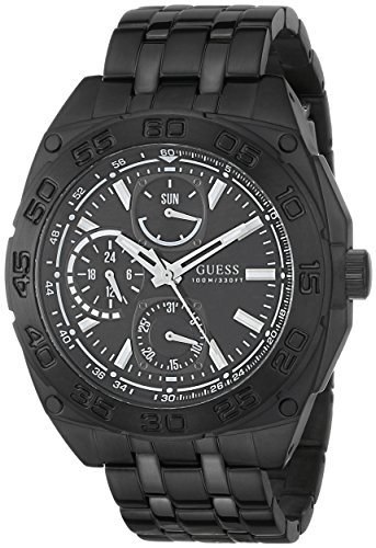 GUESS Men's U0487G2 Black Ionic Plated Multi-Function Watch image