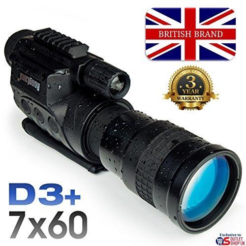 Rongland NV760D3+ Professionelles Digitales Nachtsichtgerät - 3 Jahre Garantie. Britische Marke. Bildqualität der 2. Gen, Tag- und Nachtbetrieb, Auto-IR, Foto, Video, Videoausgang, 7x60mm - D3+