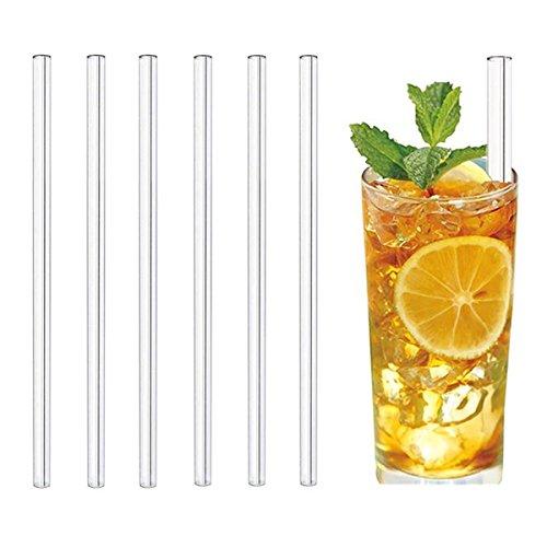 MERITON Set von 6 Glas-Strohhalme, 23cm Wiederverwendbare Glas-Trinkhalme mit 2 Reinigungsbürsten für Cocktail, Smoothie