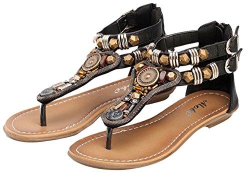 La Vogue Sandale Femme Strass Bohême Clip Toe T-Strap Tongs Chaussure Vintage Plage Voyage Été Noir