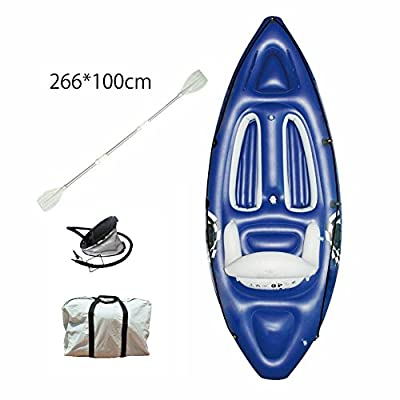 Snow Island Fashional Single Ocean Inflatable Kayak PVC/Fishing Kayak/Small Canoe with Free Aluminum Alloy Paddle, 266*100cm by Snow Island
