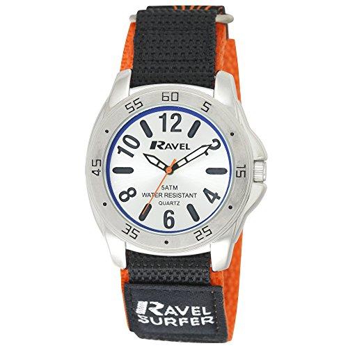 Ravel R5–10.8L Herren Surfer 5ATM Quarzuhr mit Klettverschluss, mit silberfarbenem Zifferblatt, Analog-Anzeige und Buntem Nylon-Armband