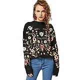 CharMma Damen Casual Rundkragen Blumen Stickerei Übergröße Pullover Sweater (Schwarz, L)