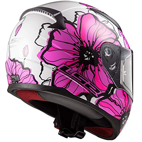 CASCHI MOTO LS2 FF353 Rapid Casco integrale Moto Scooter Sportivi Touring Full Face Casco da Corsa Tute Color Poppies Rosa XS