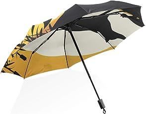 ISAOA Automatischer Reise-Regenschirm, kompakt, faltbar, Silhouette des Fuchs, Winddicht, Ultraleicht, UV-Schutz, Regenschirm für Damen und Herren
