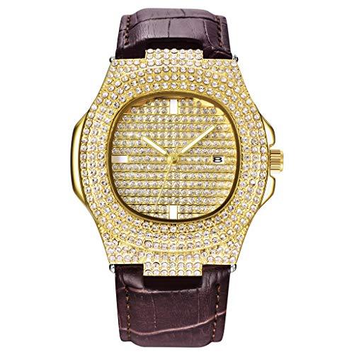 Knowin Uhren Mode Analoge Datums Lederband Männer des Quarzes volle Kristallarmbanduhr Festes Geschenk Armbanduhren mit Diamant Zifferblatt in Gold-Silber für Geschäft