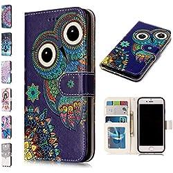 E-Panda Housse Coque Samsung Galaxy A5 2017 Portefeuille Flip Case Etui Cuir PU + TPU Ultra Fine Soft Silicone Gel Bumper Cover 3D Motif Dessin 360 Degres - Hibou