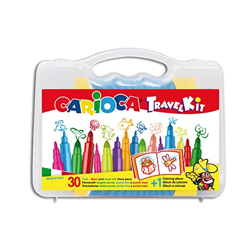 CARIOCA TRAVEL KIT |43260 - Valigetta Colori in Plastica con Materiale per Colorare, Album incluso, 30 pezzi
