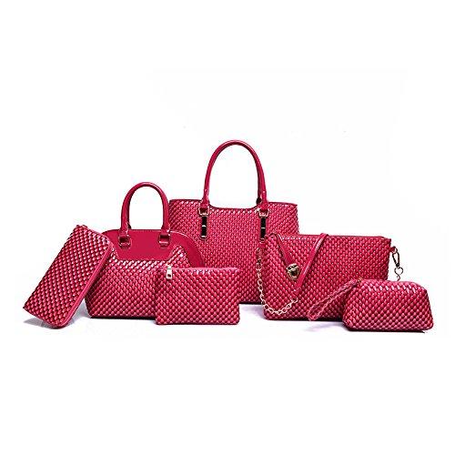 Mefly Il lusso di fascia alta borsette Identificazione di sei pezzi di moda autunno All-Match Invia Zero Wallet kaki Plum red