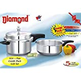 Diamond Aluminium Pressure Cooker (ISI) Combi Pack (5 LTR Cooker+ Pan Combi Pack Gift Set)
