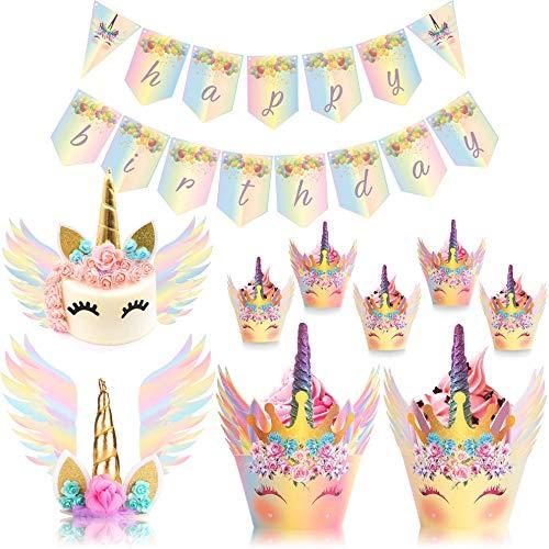 UnicornLifestyle Einhorn-Tortenaufsatz mit Wimpern, Regenbogenfarben, 30 Packungen, 24 Stück Einhorn-Topper, Geburtstagsbanner - Einhorn Kuchen Flügel - Babyparty, Kinder-Einhorn-Party, Braut-Hochzeit (Piñata Eine Kaufen)