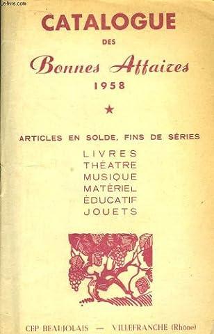 Catalogue des bonnes affaires cep beaujolais, 1958.