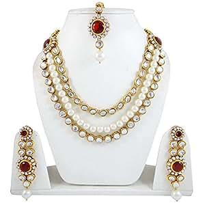 Banithani Ethnic Pearl Set Rani Haar 3 Strand Necklace Sets Wedding Jewellery For Women