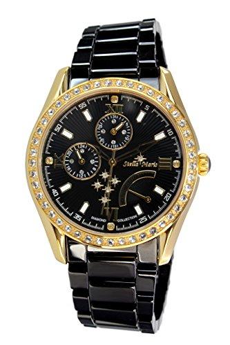 Stella Maris STM15M8 -Women's Watch - Black Watch Dial - Analog Quartz - Black Ceramic Bracelet - Diamonds - Swarovski Elements - Stylish - Classy