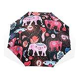 EZIOLY Regenschirm mit Hellen Elefanten, leicht, UV-Schutz, Sonnenschirm, für Herren, Frauen und Kinder, Winddicht, faltbar, kompakt