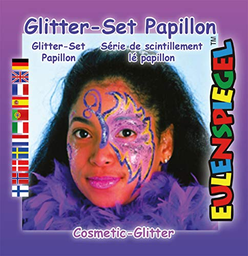 Eulenspiegel Glitzer Set Papillon, 6 Stück (Airbrush-make-up Halloween Ideen)