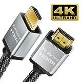 Cavo HDMI 2m, POSUGEAR 2.0 a/b alta velocità Supporta 4K 60Hz Ultra HD/Full HD 1080p/ 3D/ Ethernet/HDR Nylon Intrecciata Connettori Placcati Oro per PS4, TV, Computer e Monitor