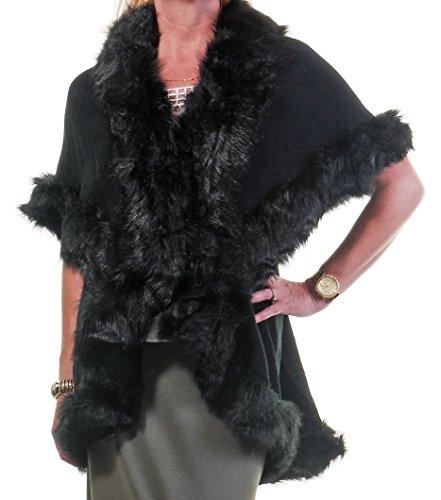 Damen Womans Luxus weichen schwarzen Faux Pelz getrimmt Kragen Mantel Cape Umhang (Pelz Getrimmt Cape Faux)