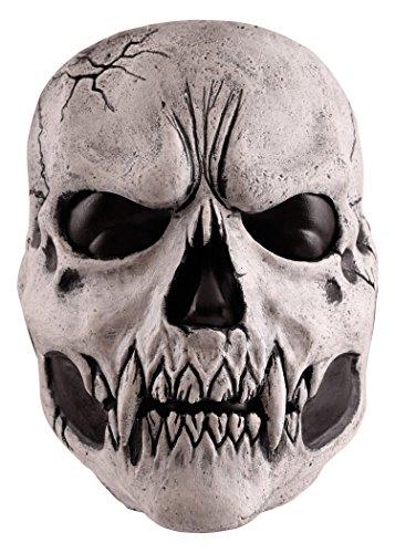 (Schaurige Schädelmaske Teufel Fratze Herrenmaske Halloween LARP Cosplay aus Latex Faschingskostüm verschiedene Farben (Weiß))