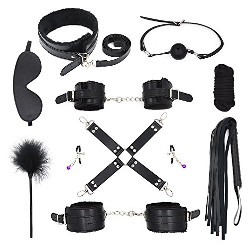 Avwedolove 10 Stück SM Bondageset FesselSet BDSM Spielzeug SM Bondage Set (Schwarz) -