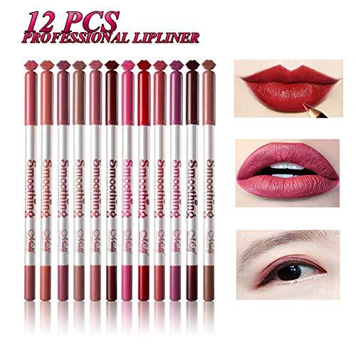 Xiton 12 Farben wasserfeste lippenstifte Lippenkonturenstift Perfekt definierte Lippenkontur...