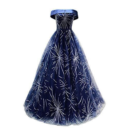 Frauenkleid One-Shoulder- Hot Gold Powder Lange Tutu Abendkleid Maix Abendkleid Kleid (Farbe : Navy Blue, Size : XL)