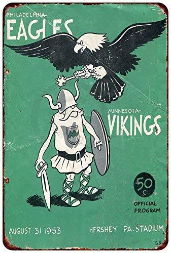 qidushop Philadelphia Eagles Vs Minnesota Vikings 1963 Reproduktion Metallschild für Zuhause, Wandkunst, Dekoration Postschild für Damen und Herren, 20 x 30 cm