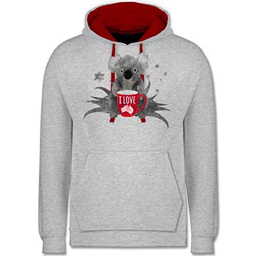 Kontinente - I love Australien Koala - Kontrast Hoodie Grau Meliert/Rot