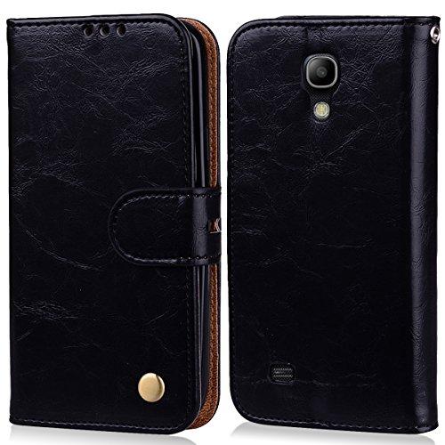 MoEvn Cover per Samsung S4 Mini, Custodia Galaxy S4 Mini Pelle PU e Silicone Premium Luxury PU Leather Flip Wallet Case Supporto Porta Carte Chiusura Magnetica Portafoglio Protettivo Caso Nero