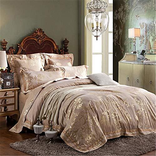 KenYosns Luxus Silber Satin Jacquard Queen King Bettwäsche Set Bettdecke Baumwolle Bettlaken Bettbezug Bett Set Bedding Set 5 Queen Size 4pcs