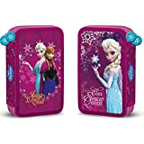 Estuche con dos compartimentos, diseño de Frozen de Disney, viene con 26 piezas. De dos pisos, diseño de Elsa y Anna de Frozen