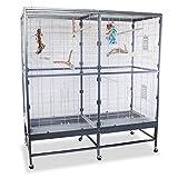 Montana Cages | Vogelvoliere Paradiso 150 | Antik-Platinum | Voliere für Wellensittiche, Nymphensittiche & Co.