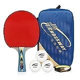 4Star professionale ping pong pagaie–Advanced training–Racchette tennis da tavolo con 1valigetta e 3palline (1racchette), unisex, Red-black